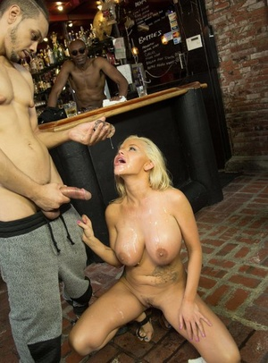 Blonde bombshell squirts cum from mouth after getting on knees for black cocks