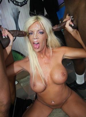 Platinum blonde female Jordan Blue gets covered in facial cum by black guys
