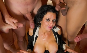Dark haired stripper Veronica Avluv gets facialized after putting on a show