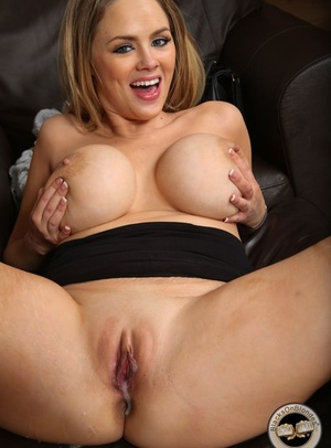 Busty white chick Katie Kox oozes cum from her beaver after interracial fucking