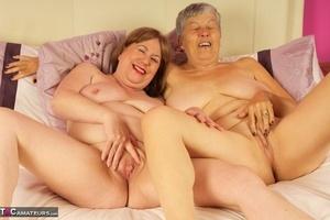 Mature old Savana & friend enjoy mutual nipple licking wearing g-string panties