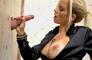 Inviting MILF in tights Stacy Silver gets fucked through glory hole