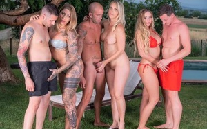 German chicks perform hardcore sex acts during outdoor group sex