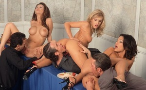 Hot & horny Adriana Sage likes big cock deep-throat in sizzling dinner orgy