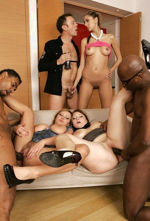 Trampy chicks with large boobs are into xxx groupsex with trio guys
