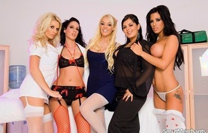 Group of hot women have a switch sides gangbang with their favorite doctor