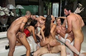 European swingers blindfold the men before wall to wall group hook-up