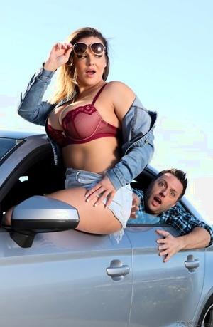 Fat chick Natasha Nice takes a cumshot on large boobies after fucking
