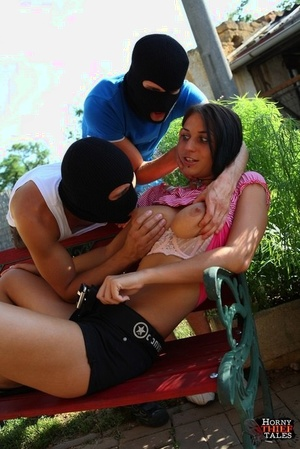 Dark haired girl is forced into MMF hookup on patio by hooded invaders