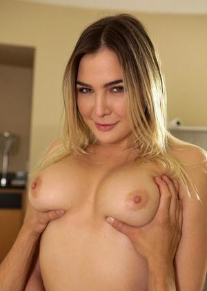 Dirty blonde female Blair Williams seduces her fellow in white lingerie
