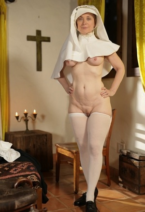 Lusty mature nun with a enormous booty Nina Hartley pleases herself at the church