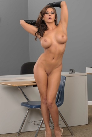 Amazing brunette Madison Ivy exposing her big tits and bubble but