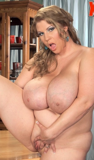 BBW Renee Ross munches ice cream and whip cream off the nipples of her boobs