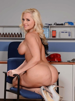 Tall and blonde mom Alena Croft baring her big white ass and large knockers