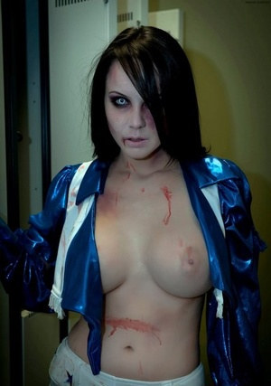 Big breasted vampire Bryci looks absolutely phenomenal in sexy white boots