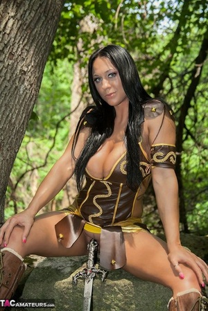 Cosplay slut Isis flaunts her superb big bra-stuffers in a multitude of cool costumes