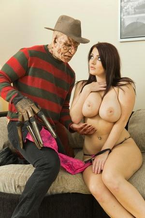 MILF pornstar Sophie Dee holds her huge tits from cumshot after fucking Freddy