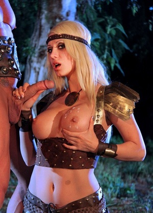 Ash-blonde chick Jazy Berlin gets banged outside at night in cosplay outfit